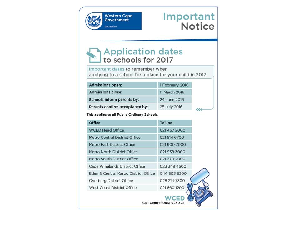 WCED-ADMISSIONS-DATES-2016-17-ENG1 Talent Show Application Form Pdf on free printable job, blank scholarship, examples job, free sample job, sample scholarship, sample rental, credit card,